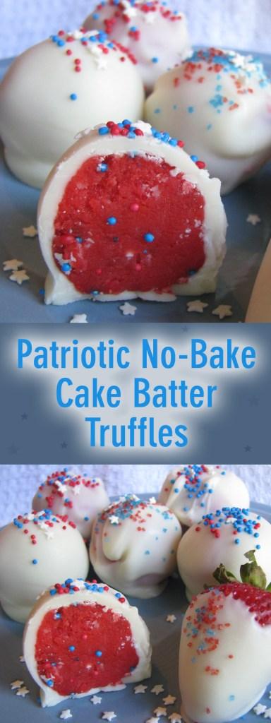 Patriotic No-Bake Cake Batter Truffles