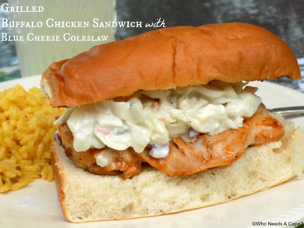 Grilled buffalo chicken sandwiches with blue cheese coleslaw for Buffalo chicken sandwich recipe grilled