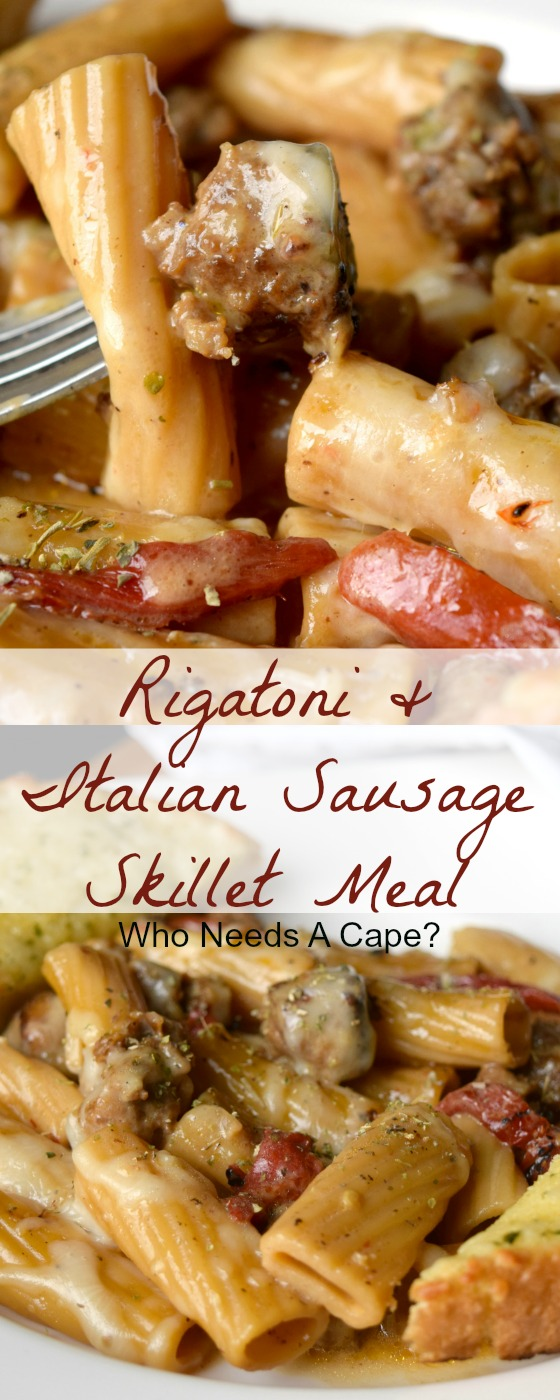 Rigatoni & Italian Sausage Skillet Meal is a hearty one pan dish that ...