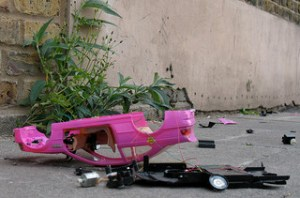Barbie doll car crash