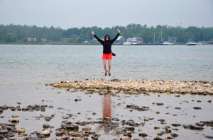 Roxy Bruss having way too much fun on Washington Island.