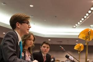 USG Senator Dan Byrd testifies at Tuesday's hearing in Hartford.