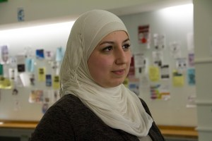 UConn student Reiham Barmo said her parents started worrying about her safety after three Muslims were murdered in Chapel Hill, North Carolina on Feb. 10. (Photo by Kaitlin Carroll)