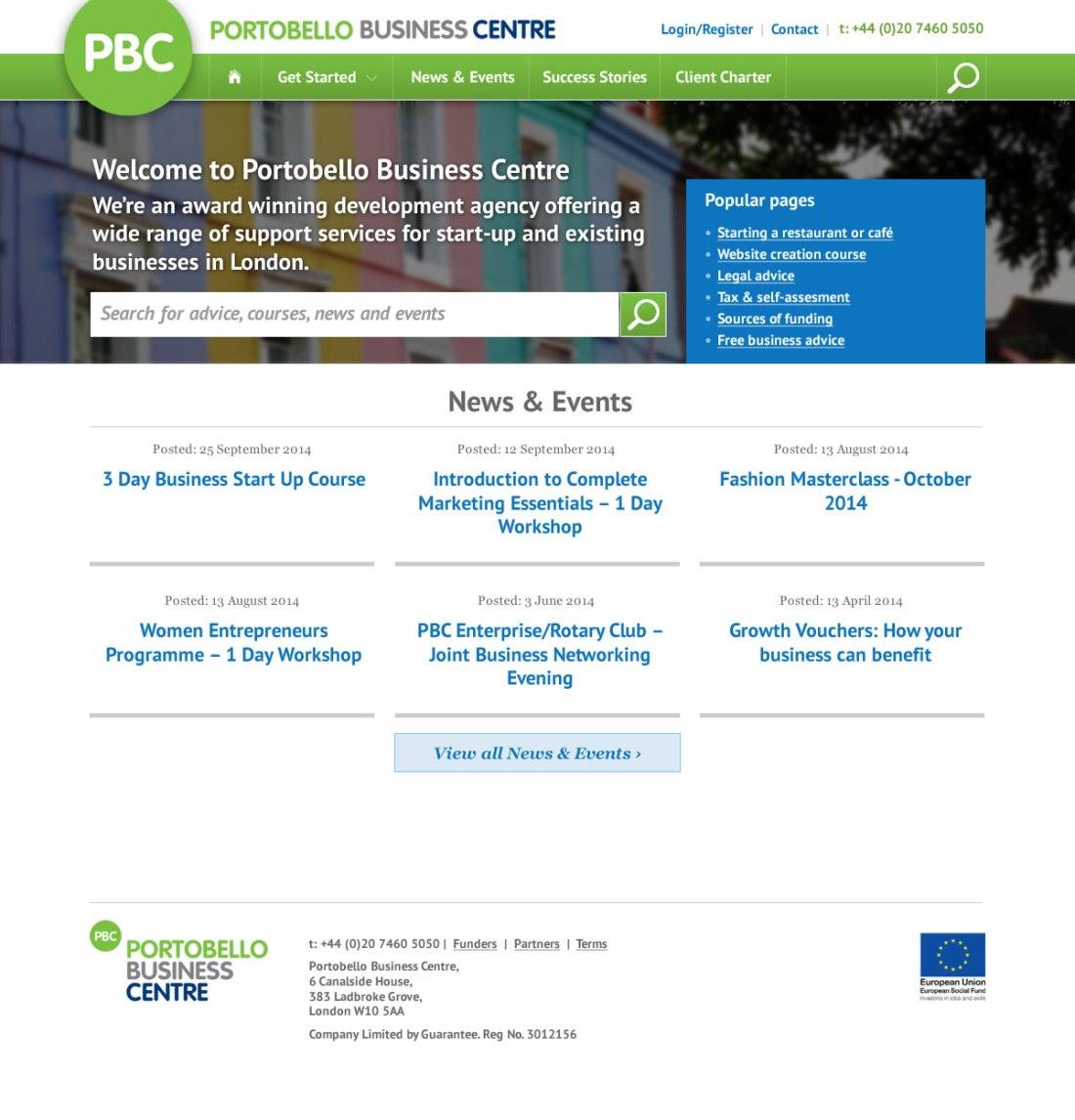 Website design for the Portobello Business Centre