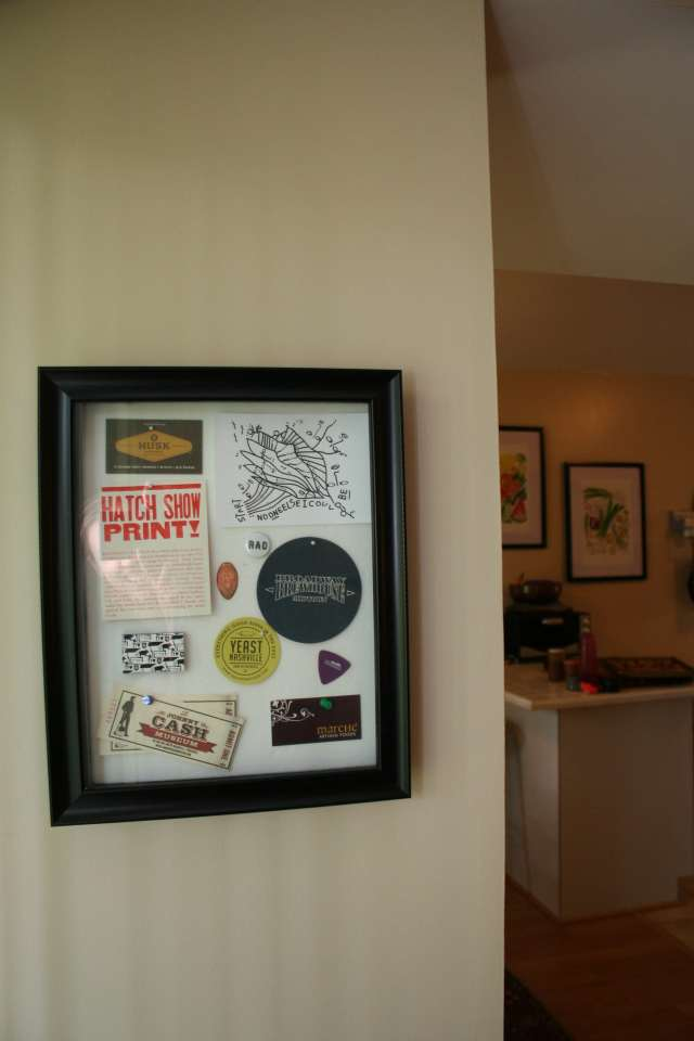 The shadowbox I made after our trip to Nashville, full of little souvenirs from the restaurants and attractions we visited.