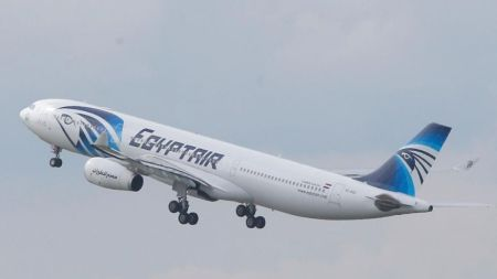 In this May 19, 2016 file photo, an EgyptAir Airbus A330-300 takes off for Cairo from Charles de Gaulle Airport outside of Paris. (AP Photo) (The Associated Press)
