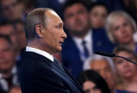 Russia's President Vladimir Putin delivers a speech during a meeting with the United Russia party members in Moscow, Russia, June 27, 2016. REUTERS/Maxim Shipenkov/Pool