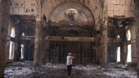 The damaged interior of the Saint Moussa Church. (AP)