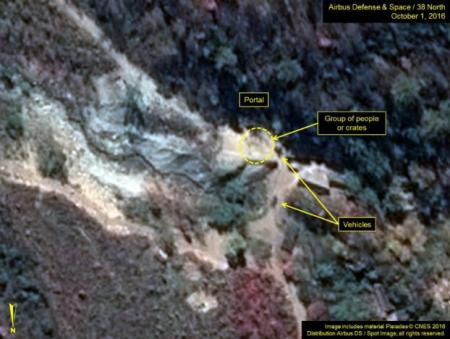 A satellite image of the area around North Korea's Punggye-Ri nuclear test site shows graphics pointing to what monitoring group 38 North says are signs of increased activity, in a photo released by the 38 North group October 7, 2016.  Airbus Defense & Space and 38 North/Handout via Reuters