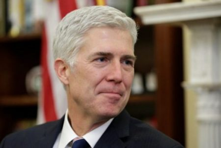 (PHOTO: REUTERS/JOSHUA ROBERTS) Supreme Court Nominee Judge Neil Gorsuch meets with Senator Cory Gardner (R-CO) on Capitol Hill in Washington, U.S., February 1, 2017.