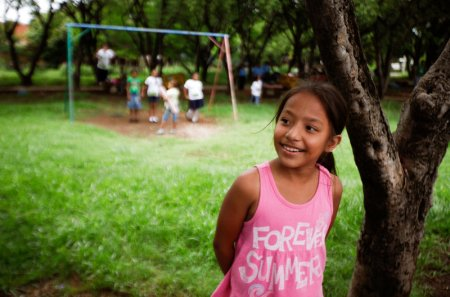A girl in a park in Managua, Nicaragua. The country topped the list for gains in happiness. (Nicolas Garcia/AFP/Getty Images)