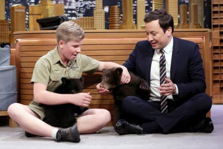 Animal expert Robert Irwin with host Jimmy Fallon on 'The Tonight Show Starring Jimmy Fallon' on April 20, 2017. Andrew Lipovsky/NBC/NBCU Photo Bank via Getty Images