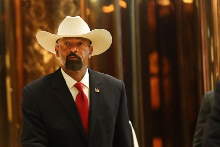 NEW YORK, NY – NOVEMBER 28: Milwaukee County Sheriff David Clarke leaves Trump Tower on November 28, 2016 in New York City. President-elect Donald Trump and his transition team are in the process of filling cabinet and other high level positions for the new administration. (Photo by Spencer Platt/Getty Images)