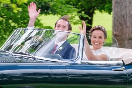 James Matthews and Pippa Middleton leave their wedding in Englefield, Berkshire, on May 20, 2017. INSTARimages.com