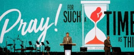 Dr. Steve Gaines gives the president's address during the Southern Baptist Convention annual meeting, Tuesday, June 13, 2017, in Phoenix. (AP Photo/Matt York)