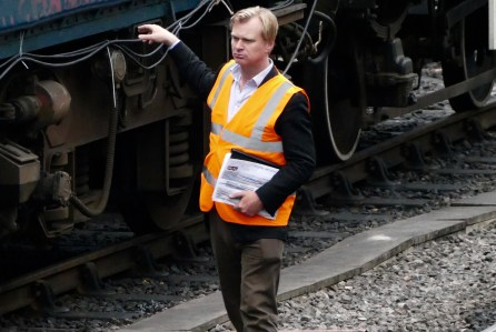 Mandatory Credit: Photo by Geoffrey Swaine/REX/Shutterstock (5790245o) Director Christopher Nolan on the set of Dunkirk for the final days filming at Swanage Railway Station 'Dunkirk' on location filming, Swanage, UK - 26 Jul 2016