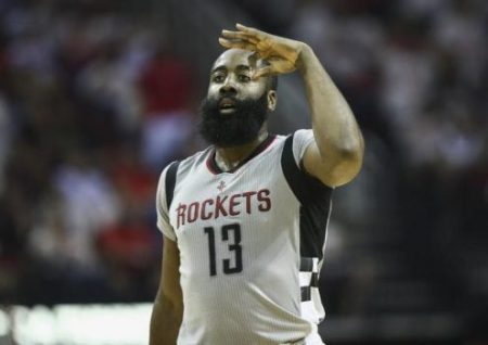 May 7, 2017; Houston, TX, USA; Houston Rockets guard James Harden (13) celebrates after making a three point basket during the third quarter against the San Antonio Spurs in game four of the second round of the 2017 NBA Playoffs at Toyota Center. Credit: Troy Taormina-USA TODAY Sports