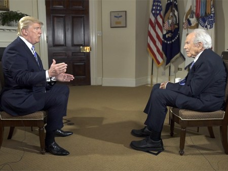"President Trump talks with the Rev. Pat Robertson during an interview for ""The 700 Club"" on the Christian Broadcasting Network. Photo courtesy of CBN"