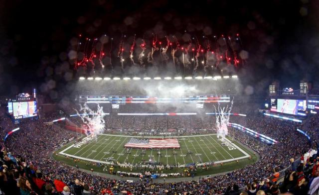 FILE PHOTO: An overall of the stadium during the national anthem before the game between the New England Patriots and the Pittsburgh Steelers in the 2017 AFC Championship Game in Foxborough, Massachusetts, U.S., January 22, 2017. Mandatory Credit: Geoff Burke-USA TODAY Sports via REUTERS/File Photo