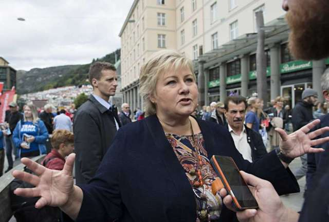 Norway's Prime Minister and leader of the Conservative Party, Erna Solberg