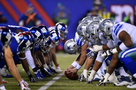 25 October 2015: New York Giants defense lines up against the Dallas Cowboys offensive line during a week 7 NFL matchup between the Dallas Cowboys and the New York Giants at MetLife Stadium in East Rutherford, NJ (Photo by Rich Kane/Icon Sportswire)