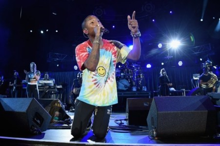 "CHARLOTTESVILLE, VA - SEPTEMBER 24: Pharrell performs with The Roots at ""A Concert for Charlottesville,"" at University of Virginia's Scott Stadium on September 24, 2017 in Charlottesville, Virginia. Concert live-stream presented in partnership with Oath. (Photo by Kevin Mazur/Getty Images)"