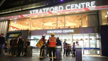 First responders cordon off the Westfield Stratford Shopping Centre in east London, U.K. after a reported acid attack (Sky News)