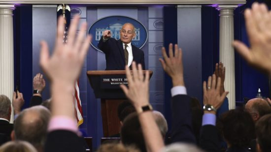 White House chief of staff John Kelly calls on a reporter during the daily briefing at the White House on Thursday. Susan Walsh/AP