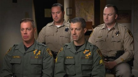 "Members of the law enforcement team who were the first to enter Stephen Paddock's hotel room after he opened fire on a crowd in Las Vegas. Top row, from left to right: Las Vegas Metropolitan Police Department Detectives Casey Clarkson and Matthew Donaldson. Bottom row, left to right: Dave Newton from the Las Vegas Police Department's K-9 unit and Sgt. Joshua Bitkso. (CBS NEWS / ""60 MINUTES"")"