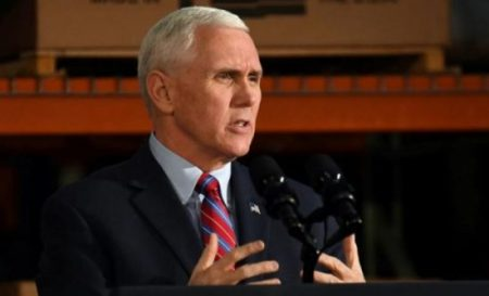 """(PHOTO: REUTERS) Vice President Mike Pence assures persecuted Christians, """"We're with you. We stand with you."""""""