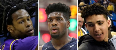 FILE - At left, in a March 10, 2016, file photo, Aransas Pass high school basketball player Jalen Hill is shown during a state semifinal basketball game in San Antonio. At center, in a Jan. 16, 2017, file photo, Sierra Canyon's Cody Riley is shown during a high school basketball game in Springfield, Mass. At right, in a Nov. 20, 2016, file photo, LiAngelo Ball is shown in Los Angeles. Citing a person close to the situation, the Los Angeles Times reported that UCLA freshmen LiAngelo Ball, Cody Riley and Jalen Hill were involved in a shoplifting incident in China. UCLA basketball coach Steve Alford will sit the three players for Saturday's game against Georgia Tech in Shanghai. (AP Photo/File)