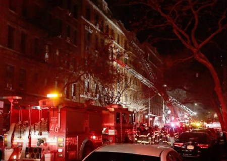 More than 160 firefighters responded to a blaze at a Bronx apartment building Thursday evening. Credit Frank Franklin II/Associated Press