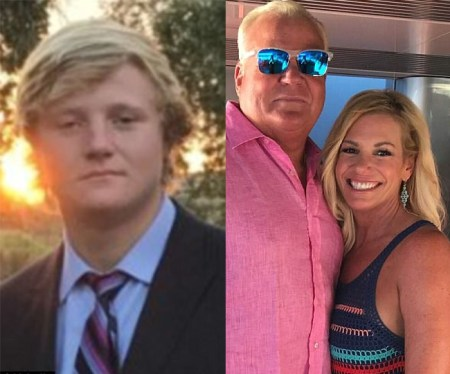 Brett Adkins, 17, of Plano, Texas, was fatally shot during what police described as a drug deal gone wrong on Christmas Eve. / Brett's father, Bill Adkins (left), is a prominent local car dealer. His mother Vicki is a fashion stylist