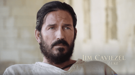 "Jim Caviezel on the set of ""Paul, Apostle of Christ"" on December 15, 2017."