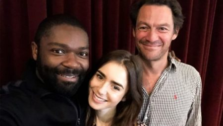Courtesy of BBC From left: David Oyelowo, Lily Collins and Dominic West