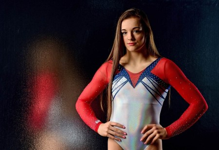 Gymnast Maggie Nichols poses in 2015 in Los Angeles. (Harry How / Getty Images file)