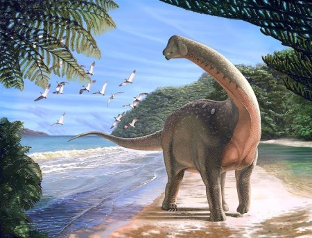 Artist's life reconstruction of the titanosaurian dinosaur Mansourasaurus shahinae on a coastline in what is now the Western Desert of Egypt. Andrew McAfee / Carnegie Museum of Natural History via Reuters