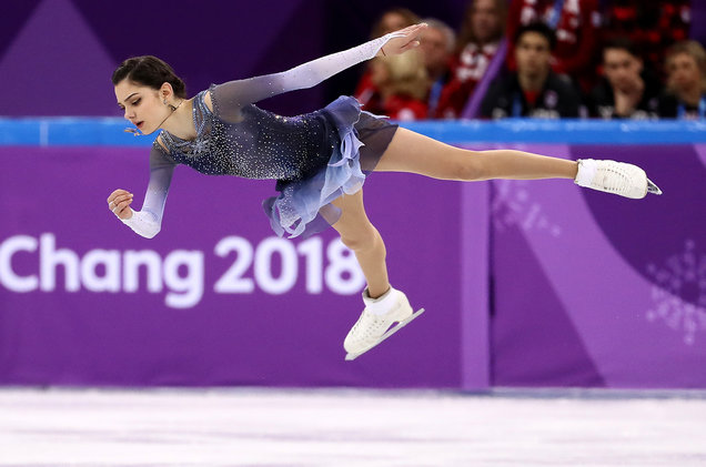 Jamie Squire/Getty Images Evgenia Medvedeva of Olympic Athlete from Russia competes in the Figure Skating Team Event – Ladies' Short Program on day two of the PyeongChang 2018 Winter Olympic Games at Gangneung Ice Arena on Feb. 11, 2018 in Gangneung, South Korea
