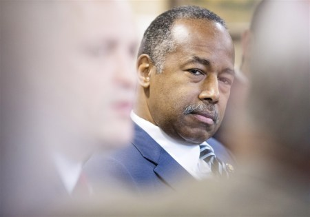Secretary of Housing and Urban Development Ben Carson meeting with lawmakers and advocates in Lexington, Ky., last month. (Philip Scott Andrews/For The Washington Post)