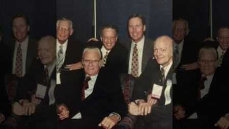 Pictured: Max Lucado (background) with Billy Graham