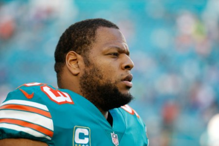 Miami Dolphins defensive tackle Ndamukong Suh (93) is seen during the first half of an NFL football game against the Buffalo Bills, Sunday, Dec. 31, 2017, in Miami Gardens, Fla. (AP Photo/Wilfredo Lee)