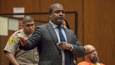 """Attorney Thaddeus Culpepper, seen here during a January hearing in Marion """"Suge"""" Knight's pending murder trial, was indicted Monday on criminal charges related to witness tampering. (Irfan Khan / Los Angeles Times)"""