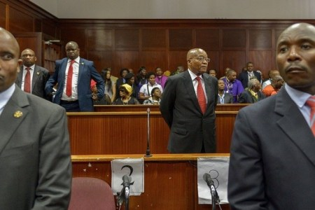 Former President Jacob Zuma appeared in court in Durban, South Africa, on Friday. He faces charges including corruption and fraud. Yeshiel Panchia/Agence France-Presse — Getty Images