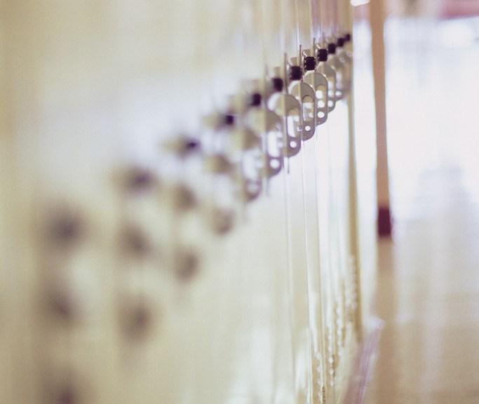 Row of lockers in school hallway