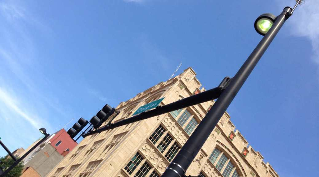 Two street lights in downtown Wichita, June 20, 2014.