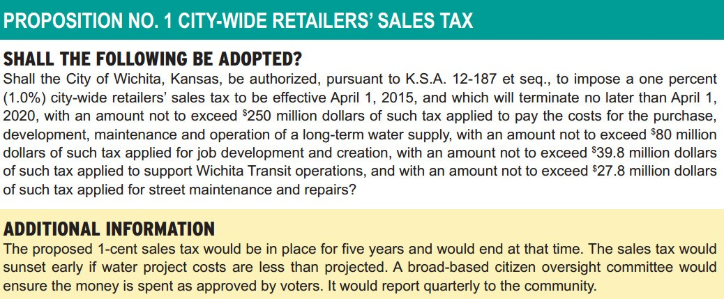 Wichita proposed sales tax ballot language example