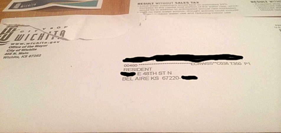 Envelope of sales tax mailer sent by Wichita Mayor Carl Brewer to Bel Aire resident. Click for larger version.