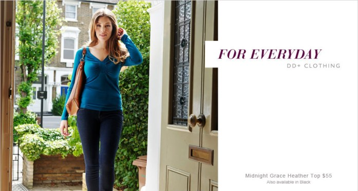 Midnight Grace By Figleaves.com Heather DD+ Gathered Neck Top. Image from Figleaves.com.