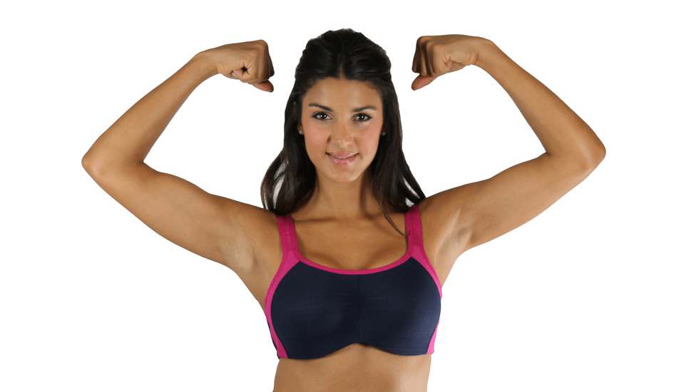 Lunaire Seamless Sports Bra in fuscia/navy. Image from Lunaire.
