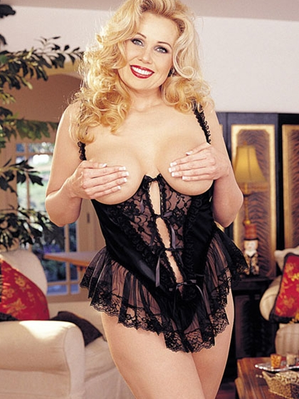 SATIN & LACE OPEN BUST TEDDY
